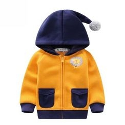 Endymion - 儿童毛毛球狮子印花连帽拉链外套