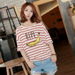 CLICK - Striped Banana Print T-Shirt
