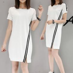 Sylvie - 条纹短袖侧开衩T恤连衣裙