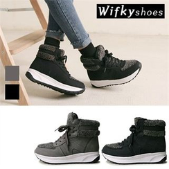Wifky - Fleece-Trim High-Top Sneakers