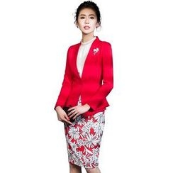 Aision - Single-Button Blazer / Embellished-Neckline Blouse / Printed Skirt