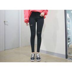 Envy Look - Slit-Detail Fray-Hem Skinny Jeans