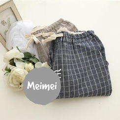 Meimei - Plaid Drawstring Loose Fit Pants
