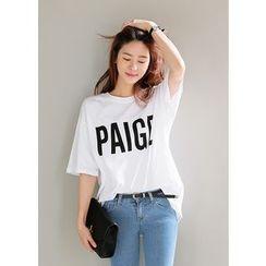 J-ANN - Elbow-Sleeve Lettering T-Shirt