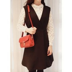 J-ANN - Sleeveless Wrap-Front A-Line Dress