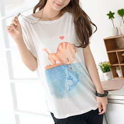 59 Seconds - Cat & Fish Print Short-Sleeve T-Shirt