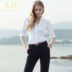 Aision - Set: Pleated Panel Shirt + Dress Trousers