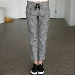 CHICFOX - Drawstring-Waist Check Pants