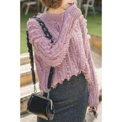 migunstyle - Round-Neck Furry-Knit Top