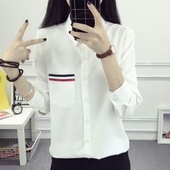 HotBlock - 條紋貼布繡口袋襯衫