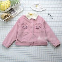 flaneur - Cat Embroidered Snap Button Corduroy Jacket