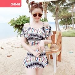 Morning Dew - Print Frilled 2-piece Swimdress