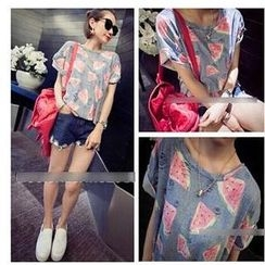 QZ Lady - Short-Sleeve Distressed Watermelon Print T-Shirt