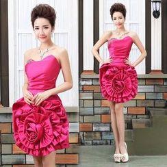 Bridal Workshop - Strapless Rosette Mini Prom Dress