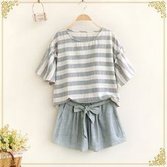 Fairyland - Set: Short-Sleeve Striped Top + Shorts