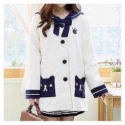 Sechuna - Sailor-Collar Tie-Front Coat