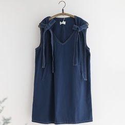 11.STREET - Tie Strap Denim Tank Dress