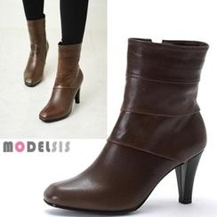 MODELSIS - Genuine Leather Zip-Up Ankle Boots
