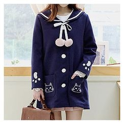 Sechuna - Sailor-Collar Tie-Front Embroidered Coat