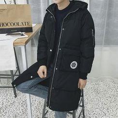ZZP HOMME - Letter Applique Back Hooded Long Padded Coat