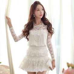 Dabuwawa - Ruffled Lace Playsuit