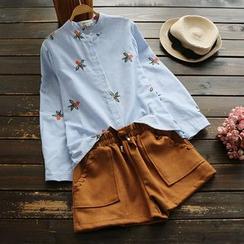 YOYO - 長袖刺繡襯衫