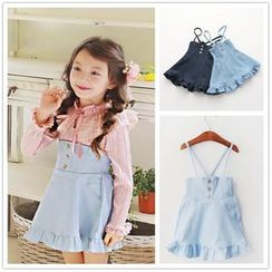 Cuckoo - Kids High Waist Suspender Denim Skirt