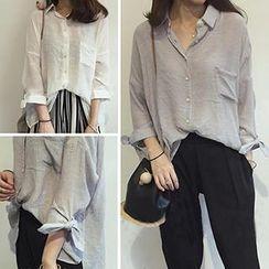 Bloombloom - Long Sleeved Sheer Shirt