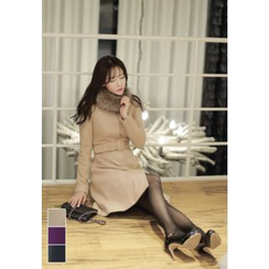 MyFiona - Collarless Buttoned Coatdress with Belt