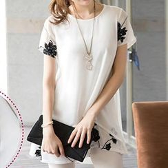 Amella - Short-Sleeve Embroidered Layered Chiffon Top