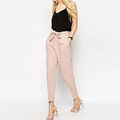 Richcoco - Bow High-Waist Baggy Pants