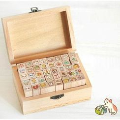 OH.LEELY - Cartoon Wooden Stamp (40pcs)
