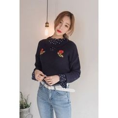 migunstyle - Cutout-Front Embroidered Knit Top
