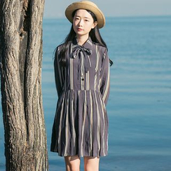 Sens Collection - Striped Tie Neck Collared Long Sleeve Dress