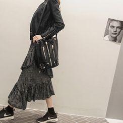 NANING9 - Tiered Asymmetric-Hem Skirt