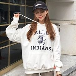 QNIGIRLS - Hooded Embroidered lettering Pullover