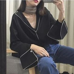 OCTALE - Piped Pajama-Style Blouse