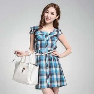 9mg - Cap-Sleeve Buttoned Check Dress