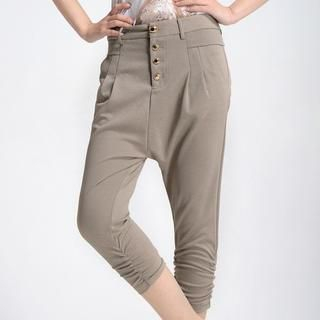 9mg - Ruched-Side High-Waist Capri Pants