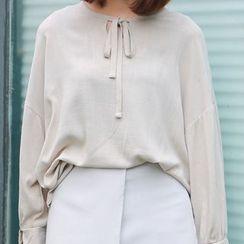 Meimei - Plain Bow Split-neck Top