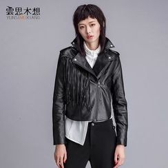 Cloudwood - Embroidered Fringed Faux Leather Jacket