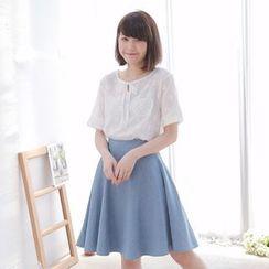 Tokyo Fashion - Short-Sleeve Tie-Neck Printed Top