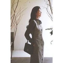 CHERRYKOKO - Sleeveless Button-Down Plaid Dress