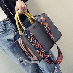 Nautilus Bags - Colour Block Satchel with Patterned Strap