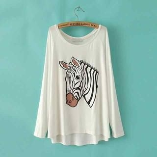 JVL - Long-Sleeve Zebra-Print T-Shirt