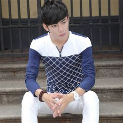 Walwa - Plaid Panel V-neck Long-Sleeve T-shirt