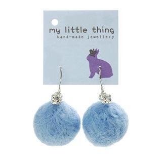 MyLittleThing - Blue Felt Ball Ball Stone Earrings