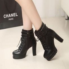 Yoflap - Studded Lace Up Heel Ankle Boots