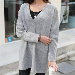 CHICFOX - V-Neck Brushed-Fleece Lined Knit Top
