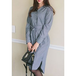 REDOPIN - V-Neck Striped Shirtdress With Sash
